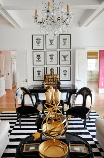 decoracion negro blanco y dorado
